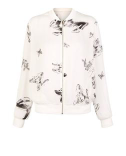 Cameo Rose White Butterfly Print Bomber Jacket | New Look