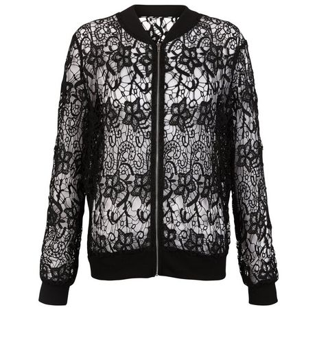 Cameo Rose Black Lace Bomber Jacket | New Look