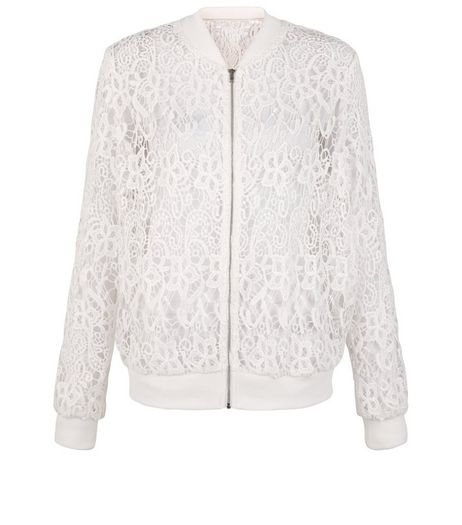 Cameo Rose Cream Lace Bomber Jacket | New Look
