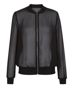 Cameo Rose Black Sheer Bomber Jacket | New Look