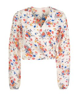 Innocence White Floral Print Wrap Top | New Look