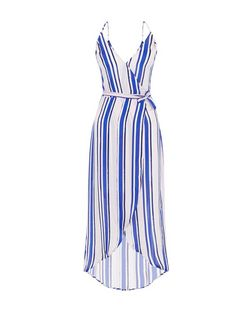 Innocence Blue Stripe Wrap Maxi Dress | New Look