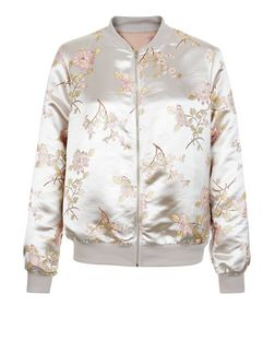 Cameo Rose Pink Floral Embroidered Satin Bomber Jacket | New Look