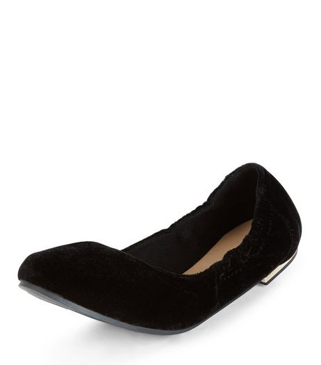 Black Velvet Scrunch Ballet Pumps  | New Look