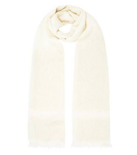 Cream Stripe Metallic Longline Scarf | New Look