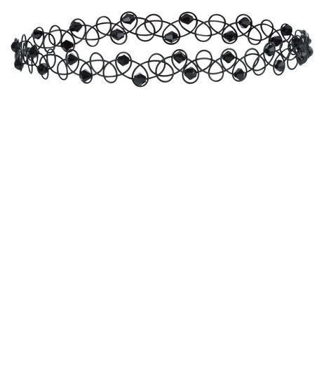 Black Beaded Tattoo Choker | New Look