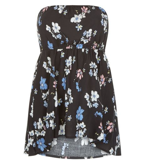 Curves Blue Floral Print Bandeau Top | New Look