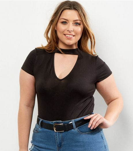 Curves Black Choker Neck Bodysuit | New Look
