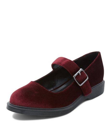 Teens Dark Red Velvet Ankle Strap Pumps | New Look