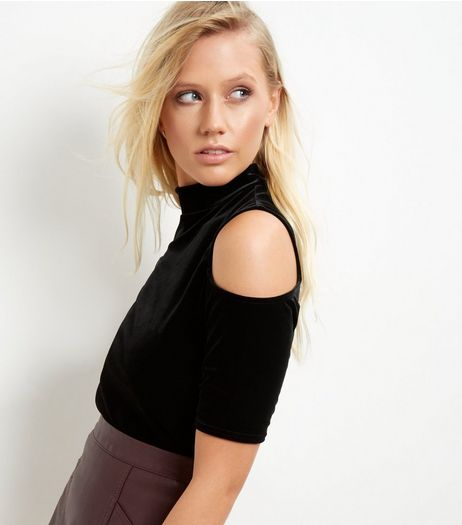 Black Velvet Cold Shoulder Funnel Neck Crop Top | New Look