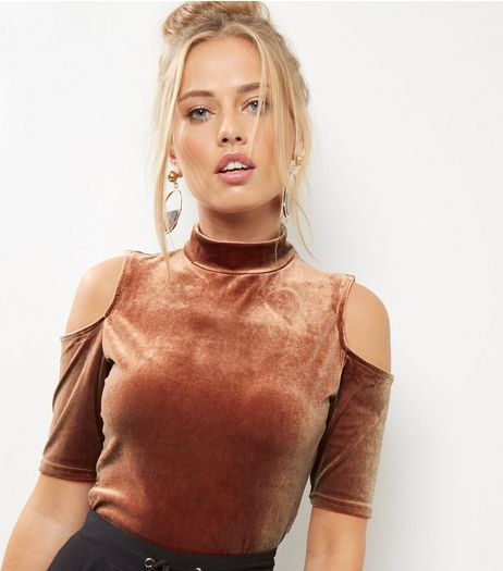 Brown Cold Shoulder Turtle Neck Crop Top | New Look