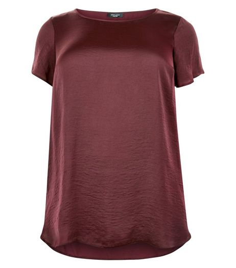 Curves Burgundy Satin T-Shirt | New Look