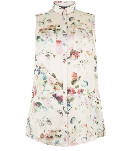 Curves Pink Floral Print Satin Sleeveless Shirt | New Look