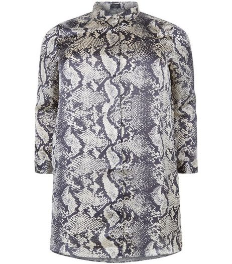 Curves Black Longline Snake Print Shirt | New Look