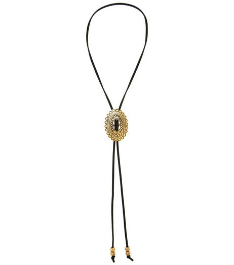 Black Engraved Disc Bolo Necklace | New Look