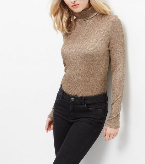 Gold Ribbed Fine Knit Turtle Neck Jumper | New Look
