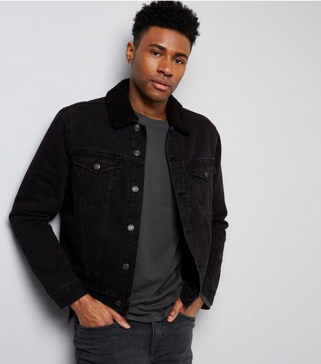 Black Borg Lined Denim Jacket | New Look