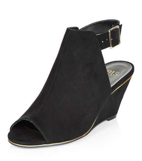 Teens Black Suedette Wedges | New Look