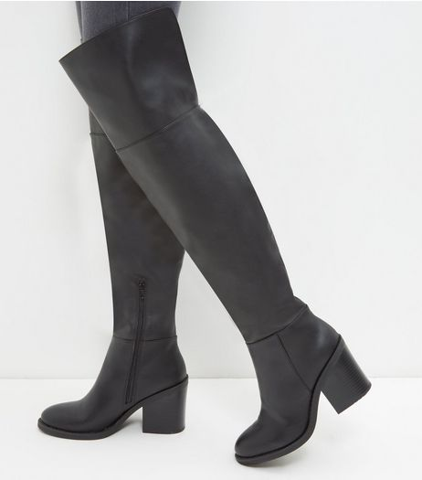 Black Block Heel Over The Knee Boots | New Look