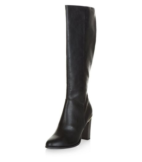 Black Leather-Look Metal Trim Knee High Boots  | New Look