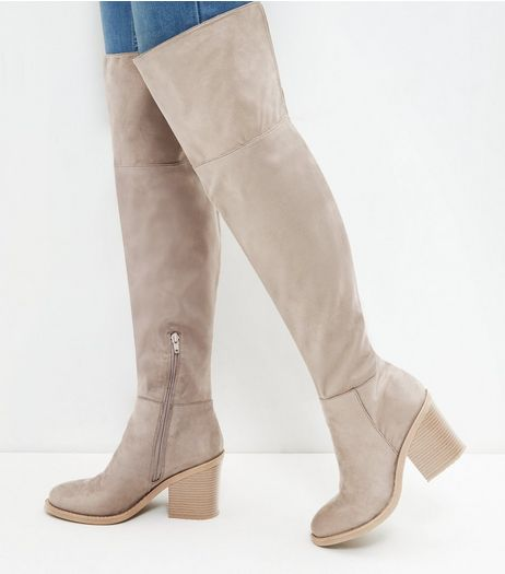 Light Brown Block Heel Over The Knee Boots | New Look