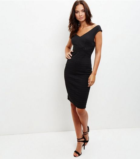 Black Ribbed V Neck Bodycon Dress  | New Look