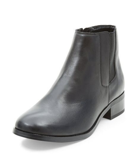 Black Leather Chelsea Boots | New Look