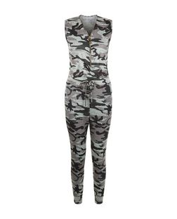 Cameo Rose Green Camo Print Zip Front Jumpsuit | New Look
