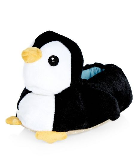 Teens Black Penguin Slippers | New Look