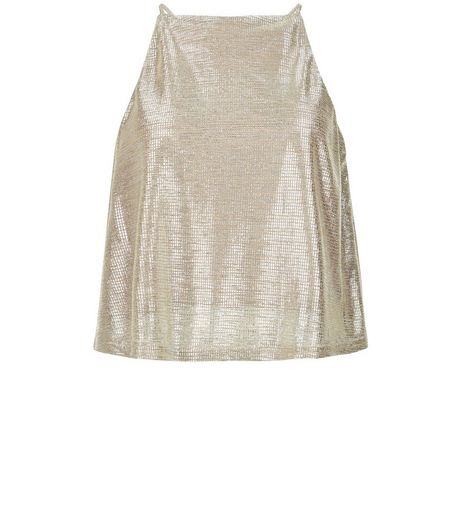 Teens Gold Foil High Neck Cami | New Look