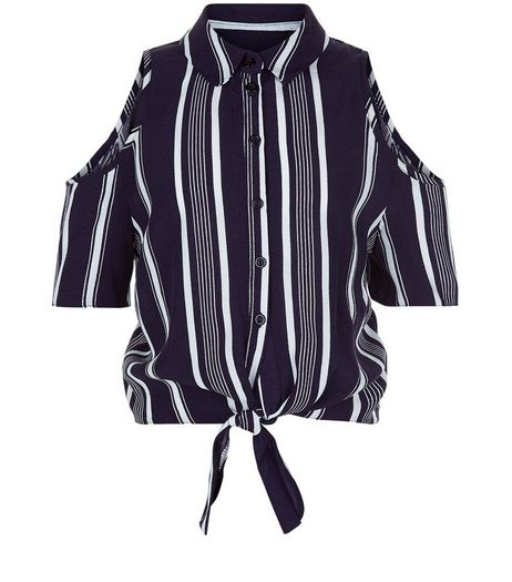 Teens Blue Stripe Print Tie Front Cold Shoulder Shirt  | New Look