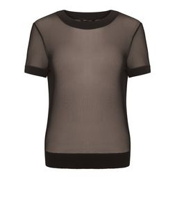 Black Mesh Contrast Trim T-Shirt | New Look