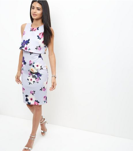 Blue Floral Print Layered Bodycon Dress  | New Look