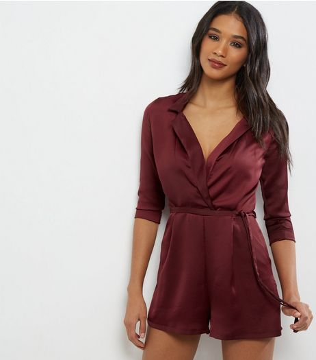 Burgundy Sateen Tux Playsuit | New Look