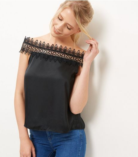 Black Sateen Lace Trim Bardot Neck Top  | New Look