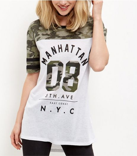 White Camo Colour Block Manhattan Baseball T-Shirt  | New Look