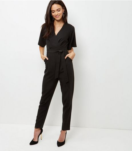 Black Wrap Front Belted Jumpsuit  | New Look