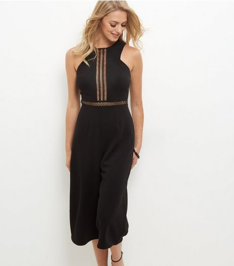 Black Cut Out Trim Culotte Jumpsuit  | New Look