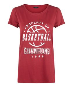 Red Basketball Champions T-Shirt | New Look