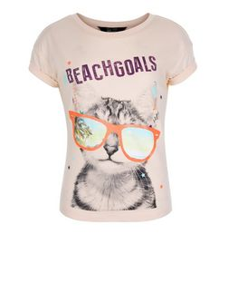 Girls Coral Beach Goals Cat Print T-Shirt | New Look
