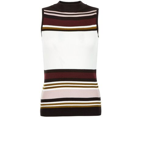 Petite White Stripe Funnel Neck Top | New Look