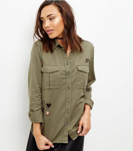 Olive Green Badge Embroidered Military Shirt  | New Look