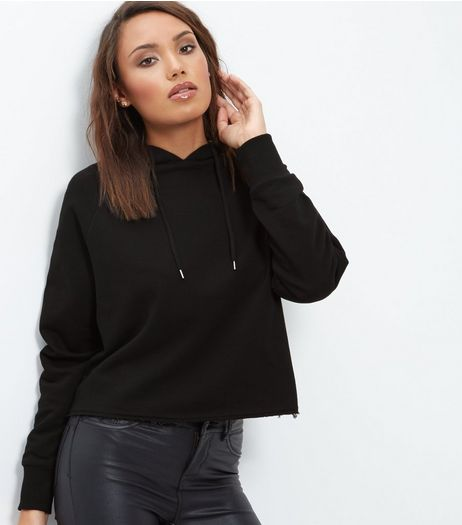 Black Cropped Hoodie  | New Look
