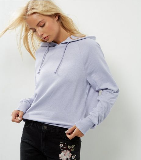 Lilac Cropped Hoodie | New Look