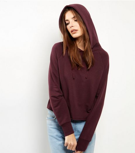 Burgundy Cropped Hoodie  | New Look