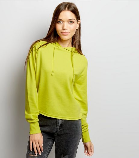 Yellow Long Sleeve Cropped Hoodie  | New Look