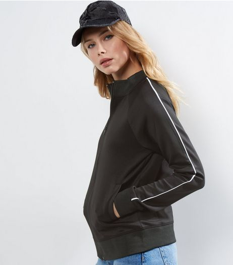 Black Contrast Trim Zip Up Jacket | New Look