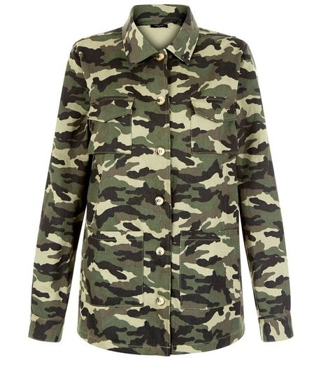 Tall Green Camo Print Shacket | New Look