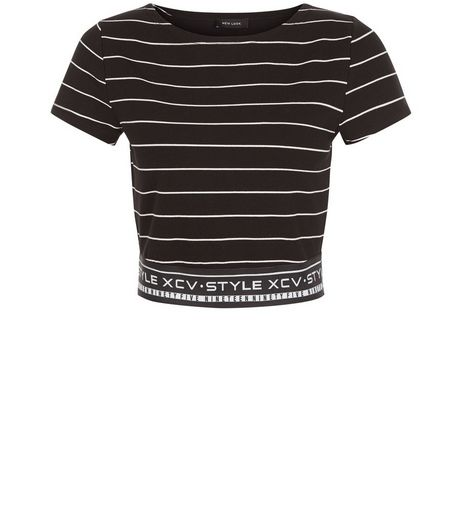 Black Stripe Slogan Elasticated Hem Crop Top | New Look