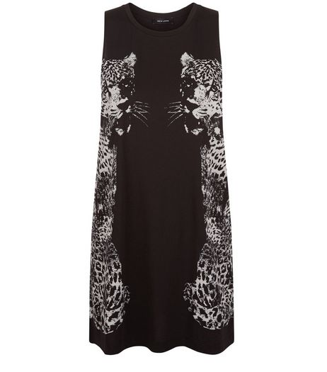 Black Tiger Print Longline Vest | New Look